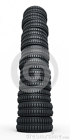 Vehicle tires stacked