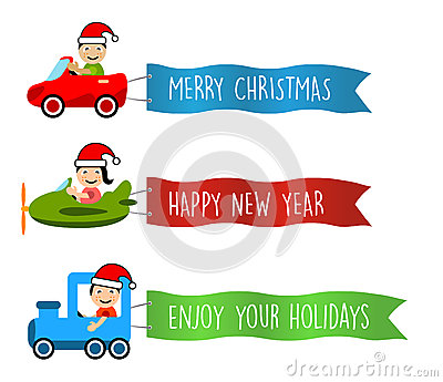 Vehicles flies with long banners for christmas Vector Illustration