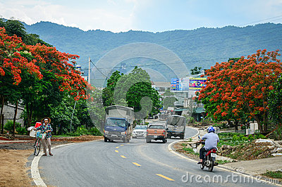 Vehicles run on street in Lai Chau, Vietnam Editorial Stock Photo