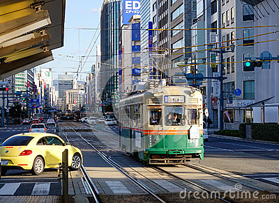 Vehicles on street in Hiroshima, Japan Editorial Stock Photo