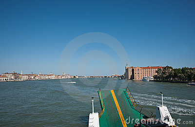 Vehicular ferry on Venice harbor.