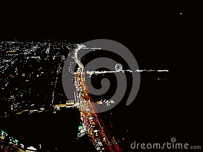 Veiw from the Blackpool tower at night. Black pool tower stock photo