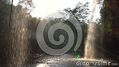 Veja o café do formulário sob a cachoeira pitoresca nas selvas no tempo da noite A água é quedas na associação através dos feixes vídeos de arquivo