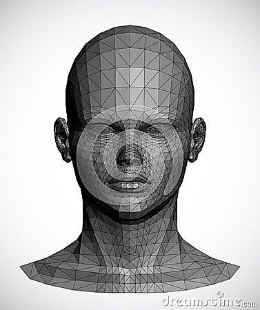 Vektor av ett grått kvinnligt huvud
