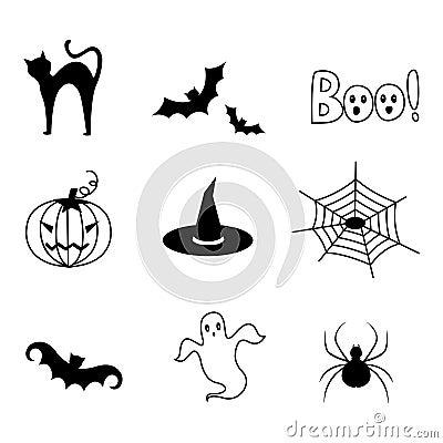 Vektor för halloween symbolssymboler