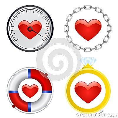 Vektor för set symbol för hjärta