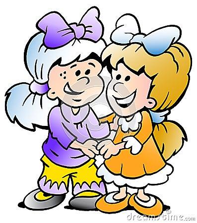 Vektorillustration av två gulliga flickavänner
