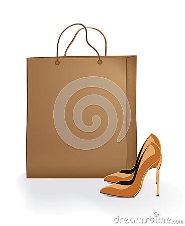 Vektormoderne Schuhe mit Paket des braunen Papiers
