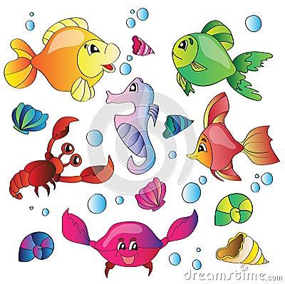 Vektorsatz Bilder des Meeresflora und -fauna