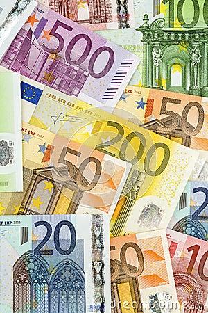 Vele euro bankbiljetten