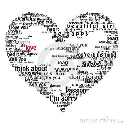 Free Velentine Heart Made Of Love Words Stock Image - 9202471