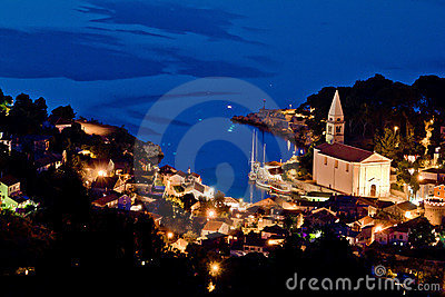 Veli losinj aerial view at evening