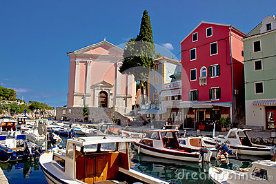 Veli Losinj harbor and colorful architecture