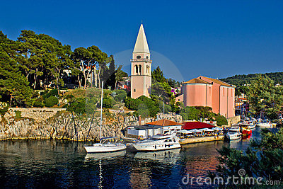 Veli losinj panoramic - church & safe harbour
