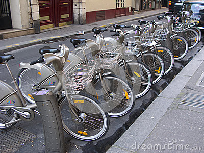 Velib bicycles, Paris Editorial Stock Photo