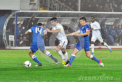 Velizar Dimitrov and two Dnipro players Editorial Stock Photo