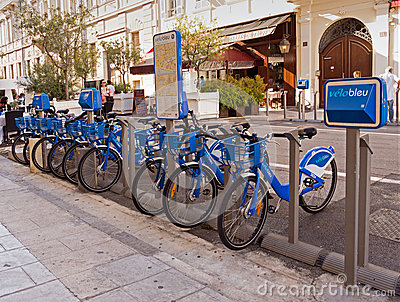 Velo bleu - Blue bicycles for rent, Nice, France Editorial Stock Photo