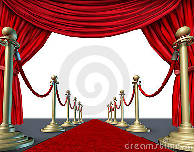 Velvet red curtain frame