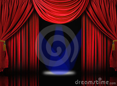 Velvet Theater Stage Drape Curtains With Blue Spot