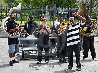 Venda de jazz de New Orleans Imagen editorial