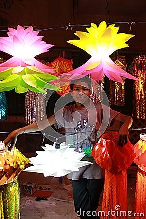 Vendedor de Diwali Foto de archivo editorial