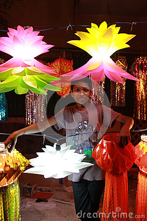 Vendeur de Diwali Photo stock éditorial