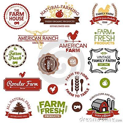 Vendimia y escrituras de la etiqueta modernas de la granja