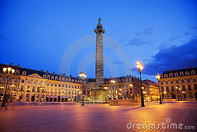 Vendome square at night, Paris