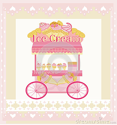 Vendor ice cream mobile booth,  abstract card
