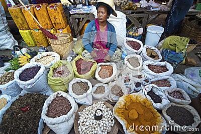 Vendor at Kalaw market, Myanmar Editorial Photography