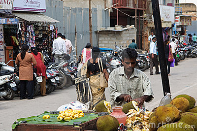 Vendor Selling Coconuts in Bangalore Editorial Stock Photo