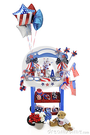 Vendor Stand in Red, White and Blue