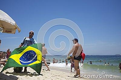 Vendors and Sunbathers on Ipanema Beach Rio Editorial Stock Image