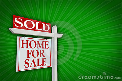 Vendu à la maison pour le signe de vente, éclat