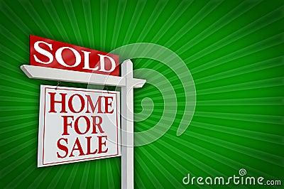 Venduto a casa per il segno di vendita, burst