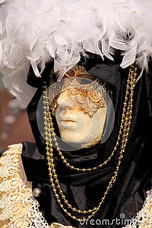 Venecian Carneval Mask Block-White