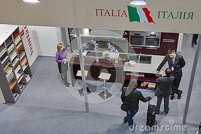 Veneta Cucine Italian kitchen designer booth Editorial Stock Image