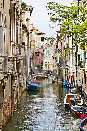 Venetian buildings along a water channel, Venice