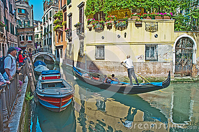Venetian Canal in Springtime Editorial Photo