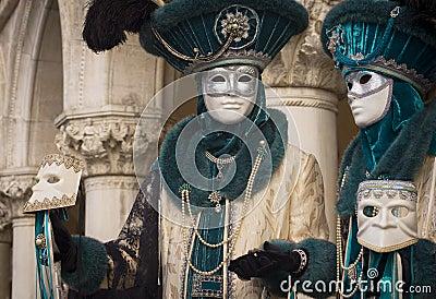 Venetian Carnival blue couple