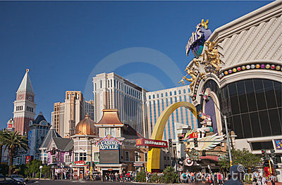 Venetian, Casino Royale and Harrah s hotels Editorial Stock Photo