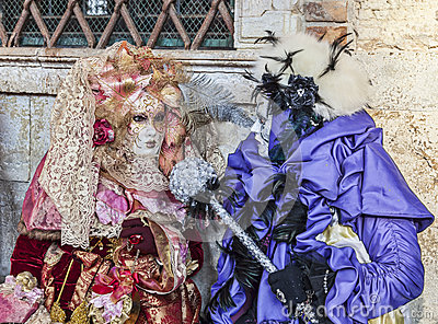 Venetian Costumes Scene Editorial Photo