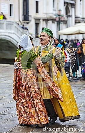 Venetian Couple Dancing Editorial Stock Image