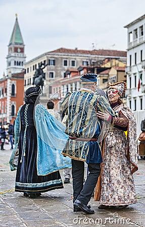 Venetian Couples Dancing Editorial Photo