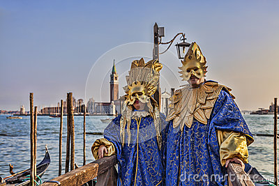 Venetian Disguised Couple Editorial Stock Photo