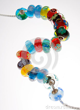 Venetian Glass Beads on Silver Chain