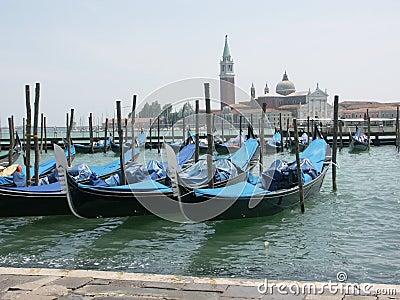 Venetian Gondolas on Lagoon