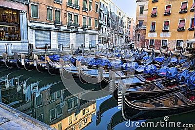 Venetian gondolas at parking