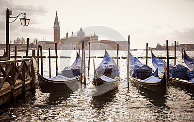 Venetian gondolas with the san giorgio maggiore