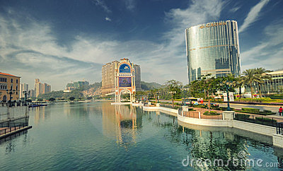Venetian Hotel Mini-Lake, Macau Editorial Stock Image